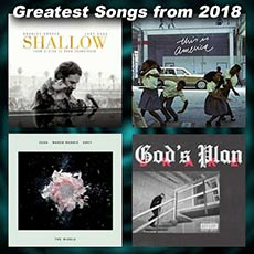 record sleeves for the songs Shallow, This Is America, The Middle, God's Plan
