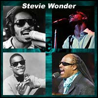 Four pictures of Stevie Wonder