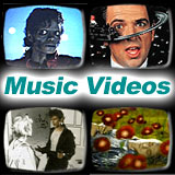 Music video stills from Thriller, Sledgehammer, Take On Me and Heart Shaped Box