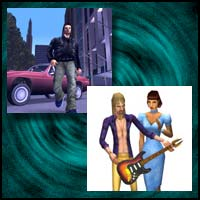 "Images from the video games ""Grand Theft Auto"" and ""The Sims"""