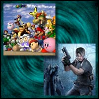 "Images from gamecube games ""Super Smash Bros Melee"" and ""Resident Evil 4"""