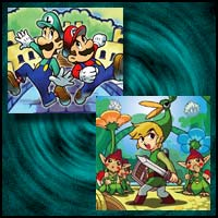 "Images from Game Boy Advance Games ""Mario & Luigi: Superstar Saga"" and ""The Legend of Zelda: The Minish Cap"""
