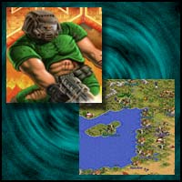 "Images from Game Boy Advance Games ""DOOM"" and ""Sid Meier's Civilization II"""
