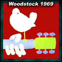 Woodstock 1969 music festival logo with white dove on guitar neck
