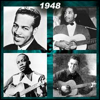 recording artists Wynonie Harris, Lonnie Johnson, John Lee Hooker, and Red Foley