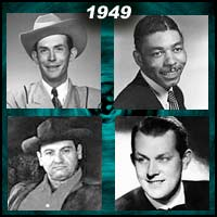 recording artists Hank Williams, Stick McGhee, Frankie Laine, and Vaughn Monroe