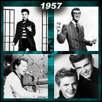 recording artists Elvis Presley, Buddy Holly, Jerry Lee Lewis, and Everly Brothers