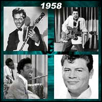 recording artists Chuck Berry, Eddie Cochran, Little Richard and Ritchie Valens