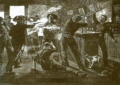 saloon gunfight in the old west drawing
